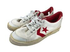 Vintage Converse Shoes All Star Sz 8.5 White Red Canvas Lo Top Made in the Usa