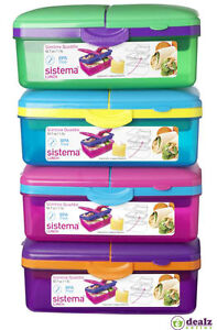 Sistema Slimline Quaddie 1.5L Lunch Food Box Bottle Work School Office BPA Free