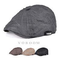 VOBOOM Mens Flat Cap Grey 8-Panel Newsboy Baker boy Hat Peaky Blinders Cap 002