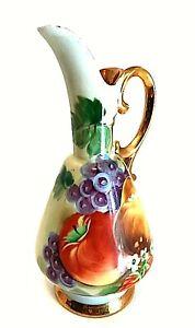 "Vintage Ucagco Pitcher Vase Porcelain Hand Painted Fruit Gold Overlay 7"" Tall"