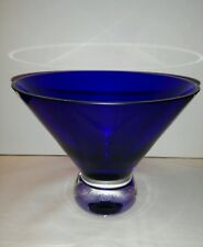 Majestic Cobalt Blue Crystal Clear Footed Pedestal Compote Centerpiece Bowl