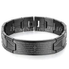 Edelstahl Armband Armreif  Schwarz Englisch Bibel Herr Gebet Kreuz Charm Herren