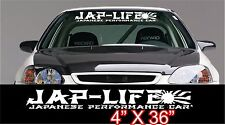 "Jap Life JDM Performance windshield banner decal 36"" Japan rising sun"