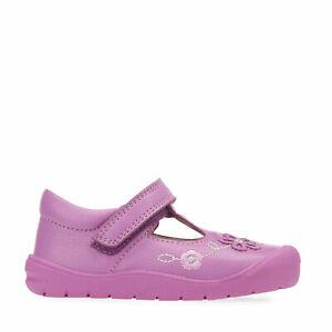 Start-Rite First Mia, Bright pink leather girls riptape t-bar first walking shoe
