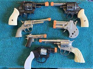 (7)Vintage Replica Toy Guns~ 6 Metal~1 Plastic~ For Parts, Repair, Restoration