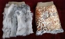 grey white real genuine rabbit fur pelt leg warmer boots shoes cover topper