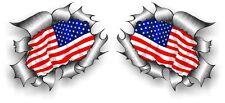 SML Coppia STD RIP RIPPED TORN METAL americana Stars & Stripes BANDIERA degli Stati Uniti Auto Adesivo