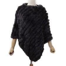 Crazy Sale Ladies Warm Real Farm Rabbit Fur Wrap Shawl Cape Poncho Scarf Outwear