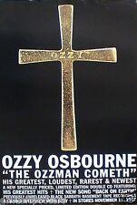 "OZZY OZZBOURNE ""OZZMAN COMETH"" POSTER-Ozzy Name Engraved On Cross, Black Sabbath"