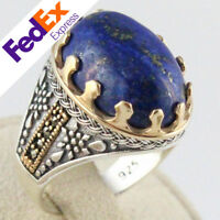 A+ Natural Lapis Lazuli Lazord Stone 925 Sterling Silver TURKISH Men's Ring