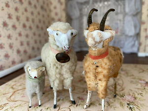 Antique Miniature Dollhouse German Sheep Farm Animal Figures Wood Bells Horns