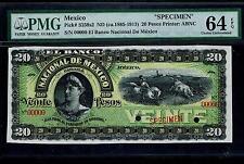 """Mexico RARE $20 Pesos""""SPECIMEN""""Banco De Nacional De Mexico1885-1913 PMG 64"""