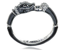 Silver Tone Metal Alloy Jet Black Enamel Rhinestone Panther Cuff Bracelet Bangle