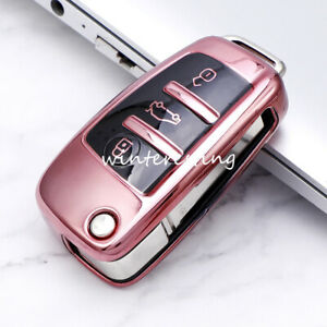 Car Flip Key Shell Case Protector for Audi A1 A3 A4 A6 A8 TT S3 S4 B7 8E C6 Pink