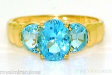 Blue Topaz & Diamond Ring 14K Yellow Gold (December )