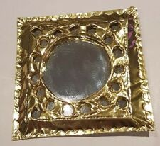 Moroccan brass coloured little pocket mirror handcrafted design 2