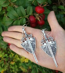 Sword earrings coat of arms medieval shield knight of swords tarot witch gothic
