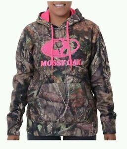 NEW Mossy Oak Women's Camo Hot Pink Logo Performance Fleece Hoodie M L XL 2XL 3X