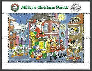 MICKEY MOUSE DISNEY CHRISTMAS STAMPS 1988 GRENADINES - 3 UNMOUNTED MINT SHEETS