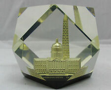 Washington Dc Acrylic Paperweight Capitol Building Monument Gold Clear Lucite