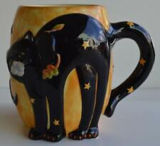 Certified International ~ Black Cat Halloween ~ Coffee Cup Mug ~ Fall Moon Stars