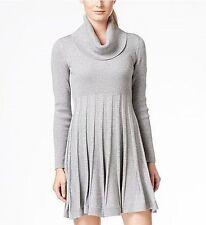 Calvin Klein Plus Size3X Cowl Neck Sweater Dress Long Sleeve Silver Lurex NEW