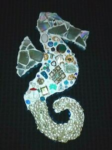"""Assemblage Art Wall Hanging Jewelry & Trinkets Seahorse on Wood 10"""" x 19.5"""""""