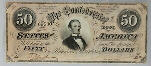 1864 $50 Confederate States of America Note PMG XF 40