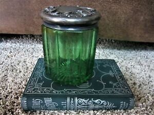 ART NOUVEAU! Antique Emerald Green Silver-plate Tobacco Humidor Cigar Jar Holder