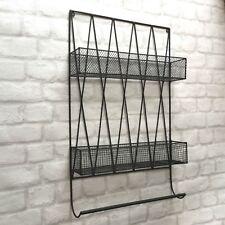 Vintage Industrial Style Metal Wall Shelf Unit Rack Towel Rail Storage Basket