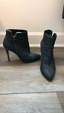 LANVIN Womens Black Leather Zip-Up High Stiletto Ankle Bootie Sz 6.5