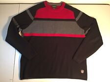 Eddie Bauer Red, Black & Gray Striped Crew Neck Cotton Sweater