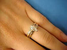 14K YELLOW GOLD PEAR & ROUND DIAMONDS 0.50 CT ENGAGEMENT RING, SIZE 6.25