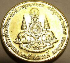 Gem Brilliant Unc Thailand 1996 25 Satang~Mahathat Temple~Double Elephants~Fr/Sh