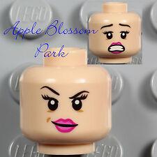 LEGO Light Flesh FEMALE MINIFIG HEAD - Girl Pink Lips Red Harrington Leia Smile