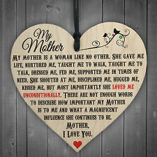 My Mother Like No Other Wooden Hanging Heart Plaque Mum Love Mothers Day Gift