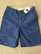 NWT Gap Kids Boys size 18 Slim Medium Blue flat front shorts-embroidered Waves