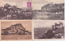 Lot 4 cartes postales anciennes BEYNAC château féodal