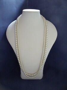 New Long Pale Cream Faux Pearl Necklace of 2 strands LAST ONE