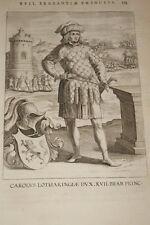 GRAVURE BELGIQUE CAROLUS LOTHARINGIAE BRABANT VEEN COLLAERT 1623 OLD PRINT R982