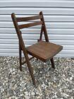 Vintage Wooden Folding Chair Mid Century Wood Slat Seat Romania MCM