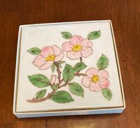 """Vintage Desert Rose 6"""" Square Trivet, Franciscan Earthenware, USA"""