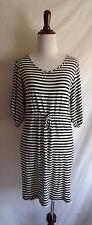 Calvin Klein 2 Black & White Stripe Jersey T-Shirt Scoop Neck Drawstring Dress