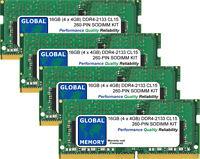 16GB (4 x 4GB) DDR4 2133MHz PC4-17000 260-PIN SODIMM MEMORY RAM KIT FOR LAPTOPS