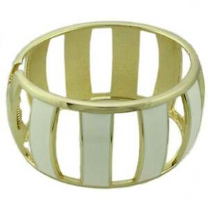 Cream Enamel Trimmed with Gold Caged Hinged Bangle - BG502