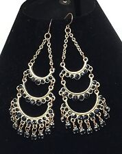 Chandelier Drop Dangle Wire Earrings Black Bezel Set Stones 3 Inches Long