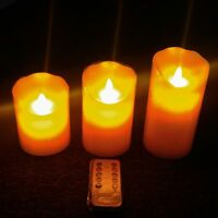 "6"", 5"", 4"" Electric Flameless Real Wax Candle Set. Battery Powered w/ Timer"