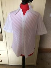 GERRY WEBER Ladies Ivory White Cotton Blend Short Sleeve Classic Blouse Size 16