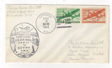 1946 Chicago IL FAM 27, Airmail FFC Cacheted TWA to Egypt, C29, C31 Transport