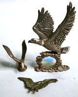 Vtg PEWTER American EAGLE Etched Miniature Figurine Lot - Ray LAMB Spoontique